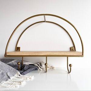 Half Circle Natural Wood & Gold Wall Shelf Hooks